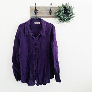 Flax Purple Linen Button Down Tunic Top M